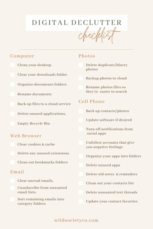 Checklist per il Decluttering digitale